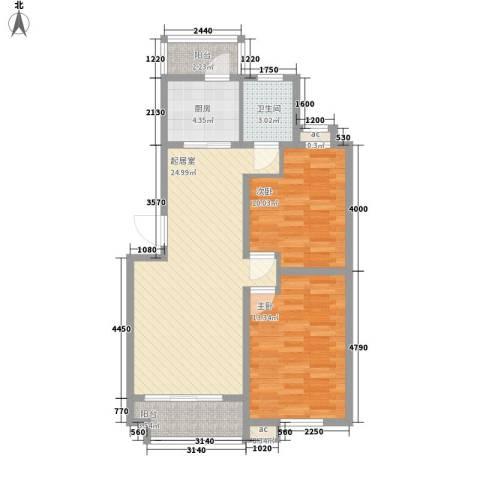 锦绣人家银杉苑2室0厅1卫1厨91.00㎡户型图