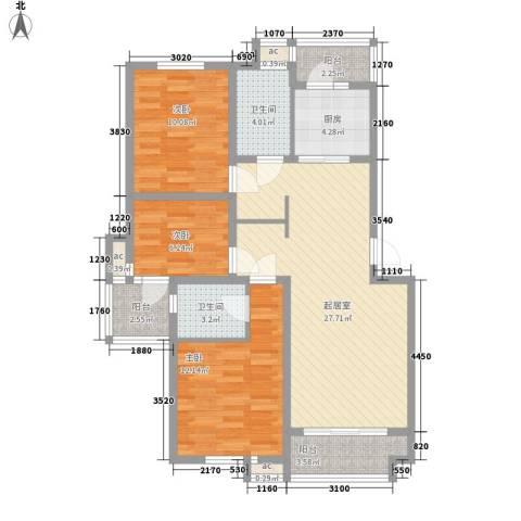 锦绣人家银杉苑3室0厅2卫1厨113.00㎡户型图