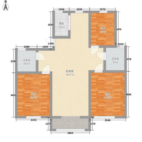 弘基书香园三期3室0厅2卫1厨127.00㎡户型图