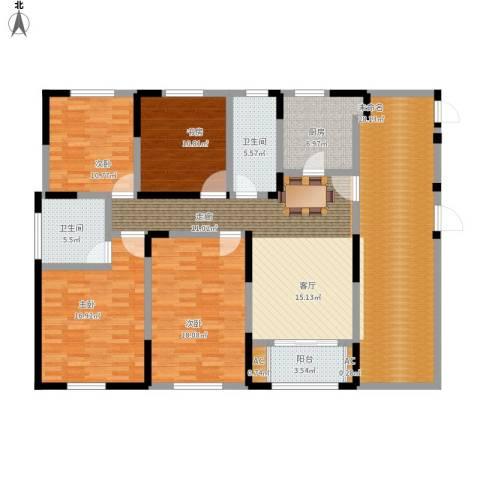 宝华和天下4室1厅2卫1厨154.34㎡户型图