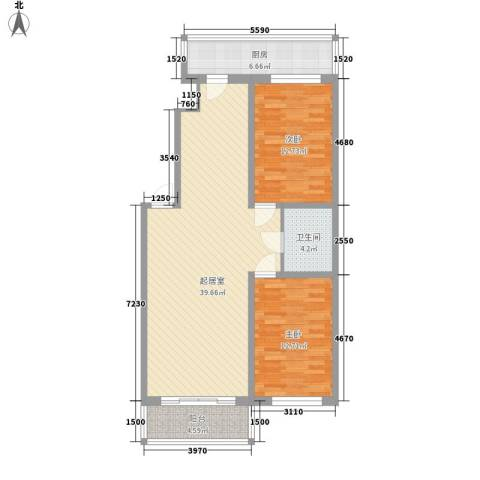 鸿基豪宅2室0厅1卫1厨115.00㎡户型图