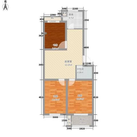 北斗星城东区・御府3室0厅1卫1厨69.61㎡户型图