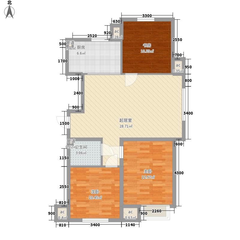 汇景园105.00㎡汇景园户型图2#3#H户型3室2厅1卫户型3室2厅1卫