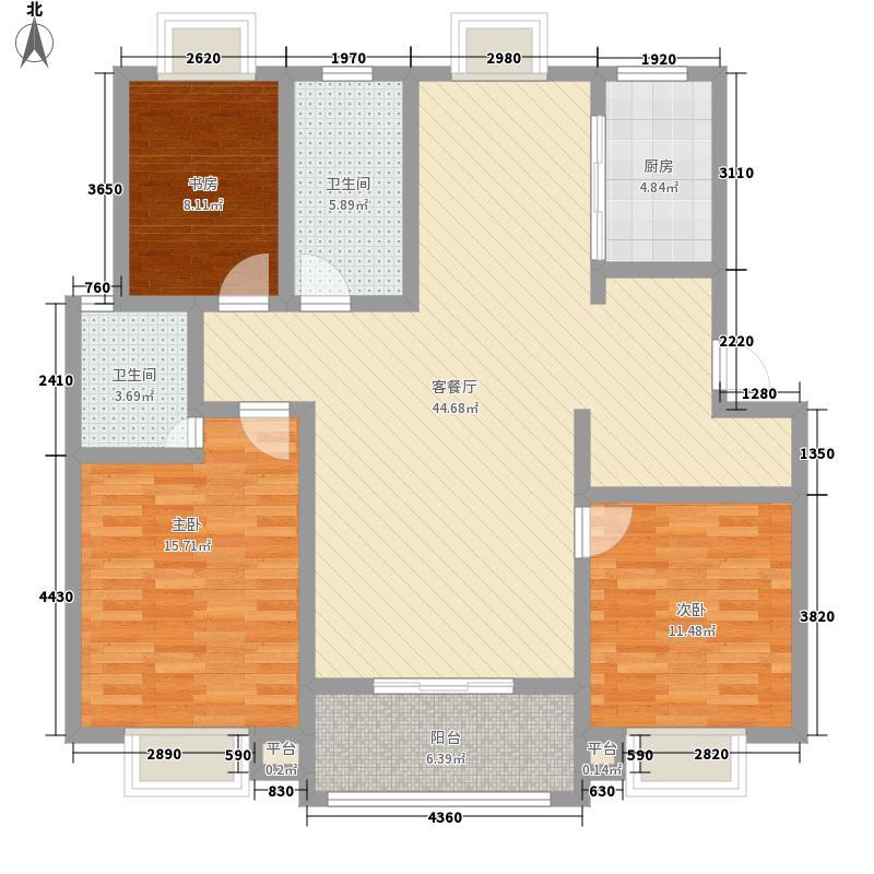 东方明珠134.00㎡平层C1A户型3室2厅2卫1厨