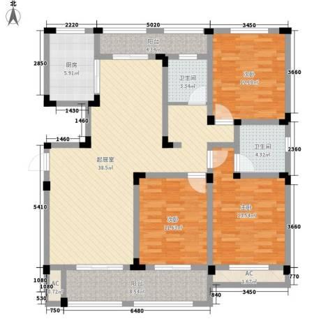 芦墅星苑3室0厅2卫1厨152.00㎡户型图