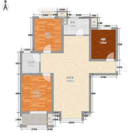 北斗星城东区・御府3室0厅1卫1厨110.00㎡户型图