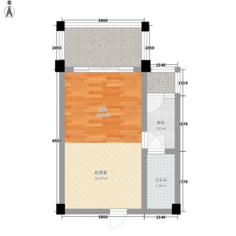 太阳河温泉度假中心1卫1厨53.00㎡户型图
