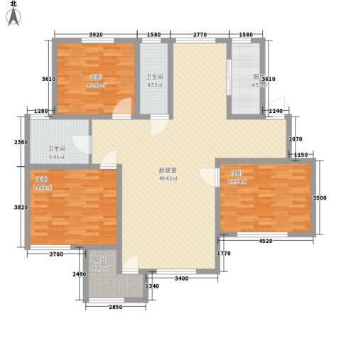 弘基书香园三期3室0厅2卫1厨156.00㎡户型图