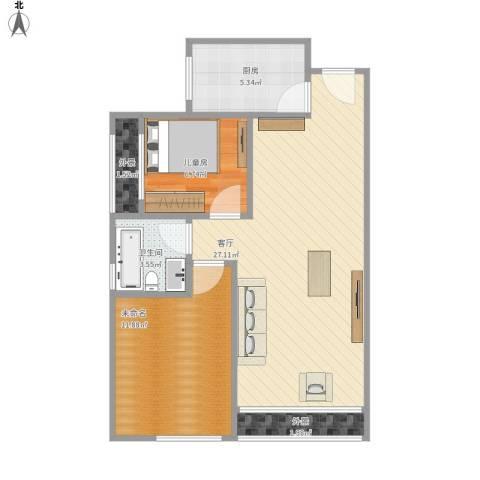常发香堤半岛1室1厅1卫1厨81.00㎡户型图