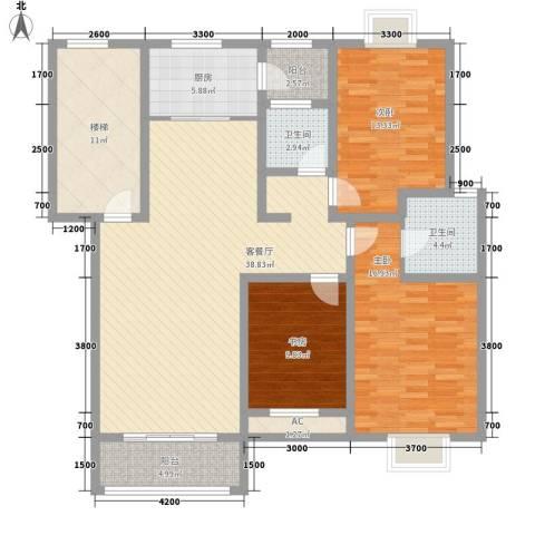 美兰湖颐景园别墅3室1厅2卫1厨120.00㎡户型图