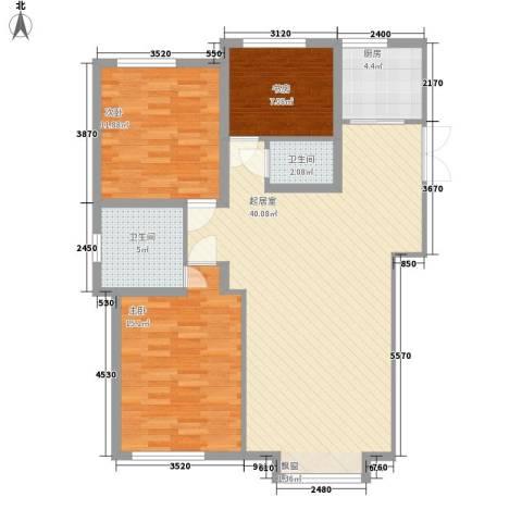 鼎盛国际3室0厅2卫1厨127.00㎡户型图