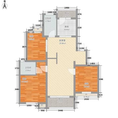 锦绣人家银杉苑3室0厅2卫1厨107.00㎡户型图