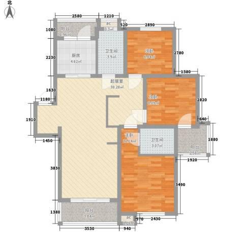 锦绣人家银杉苑3室0厅2卫1厨114.00㎡户型图