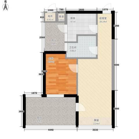 观澜高尔夫二期观澜豪园1室0厅1卫1厨75.00㎡户型图