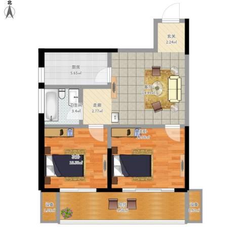 高科尚都2室1厅1卫1厨90.00㎡户型图