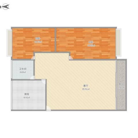 观远里2室1厅1卫1厨106.00㎡户型图