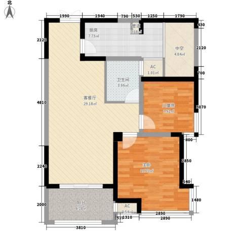 海门东恒盛国际公馆2室1厅1卫1厨87.00㎡户型图