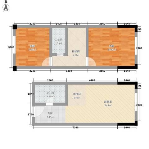 筑石银座2室0厅2卫0厨61.00㎡户型图
