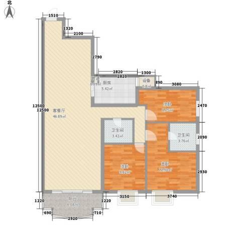 美林海岸花园海星苑3室1厅2卫1厨109.00㎡户型图