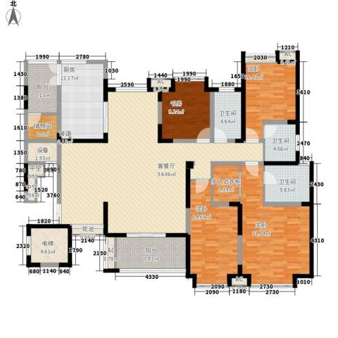 海门东恒盛国际公馆4室1厅3卫1厨190.00㎡户型图