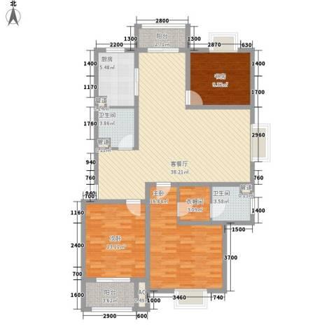 美兰湖颐景园别墅3室1厅2卫1厨127.00㎡户型图