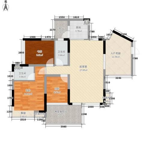 滨湖壹号3室0厅2卫1厨126.00㎡户型图