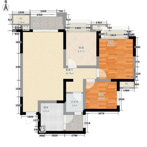 华润凤凰城三期2室1厅1卫1厨86.00㎡户型图