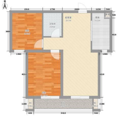 北斗星城东区・御府2室0厅1卫1厨85.00㎡户型图