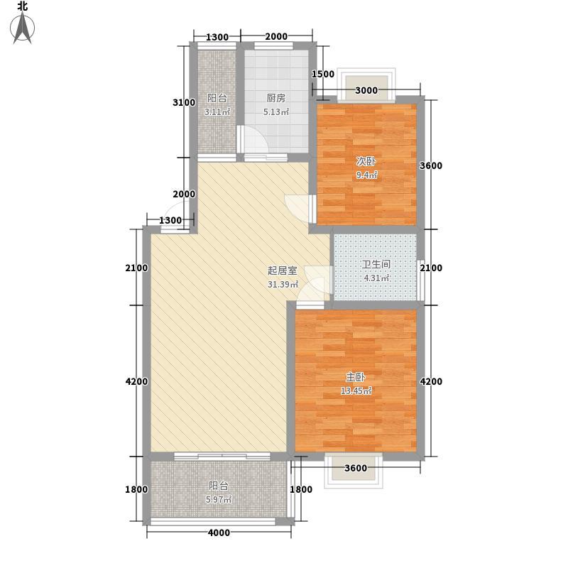 银河城85.00㎡A区二期D2户型2室2厅1卫1厨