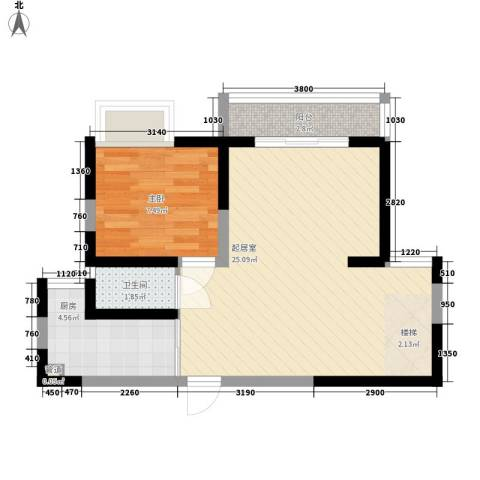 湾里新村1室0厅1卫1厨62.00㎡户型图