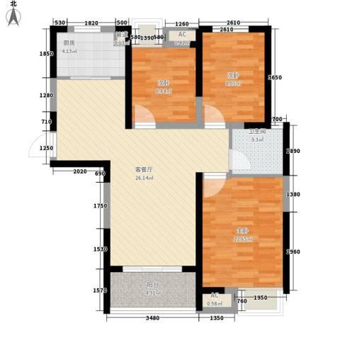 融科城3室1厅1卫1厨97.00㎡户型图
