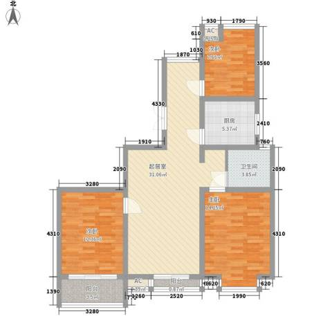 喜盈门3室0厅1卫1厨117.00㎡户型图