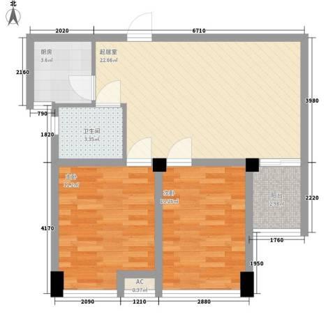 喜盈门2室0厅1卫1厨78.00㎡户型图