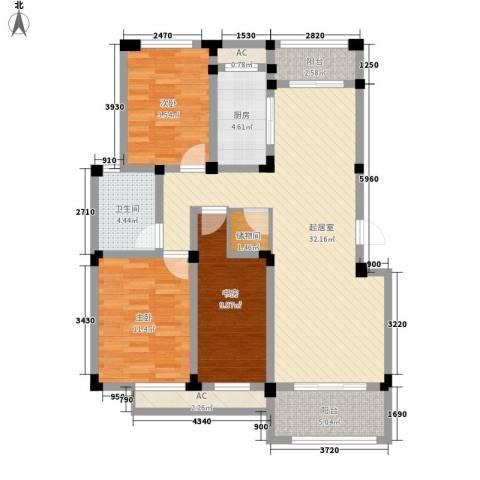 芦墅星苑3室0厅1卫1厨124.00㎡户型图