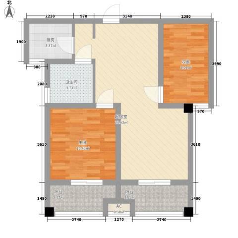 喜盈门2室0厅1卫1厨84.00㎡户型图