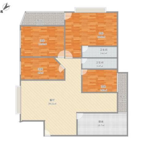 莲花广场4室1厅2卫1厨153.00㎡户型图