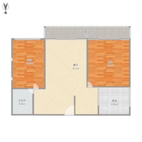 嘉益大厦2室1厅1卫1厨106.00㎡户型图