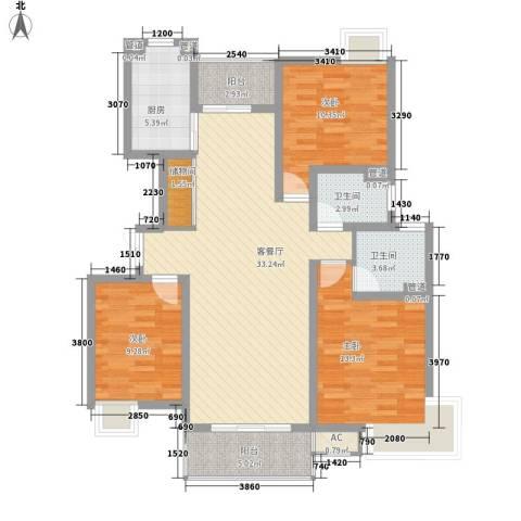 浦发博园别墅3室1厅2卫1厨129.00㎡户型图
