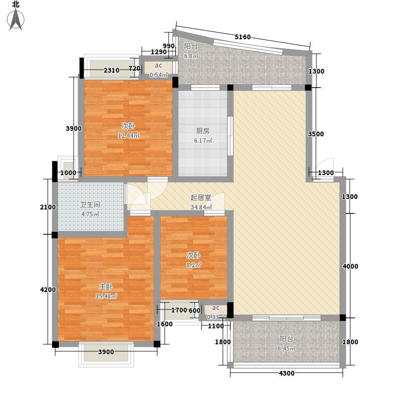 银河城111.35㎡F户型3室2厅2卫1厨