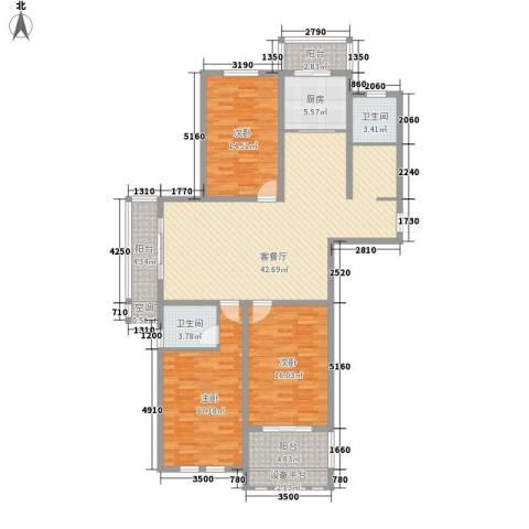 濠园养生墅3室1厅2卫1厨135.00㎡户型图