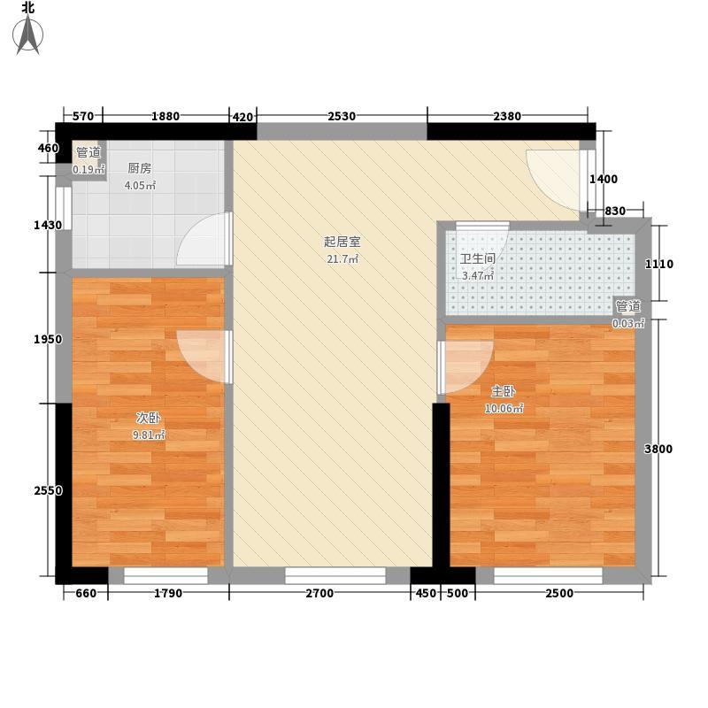筑石银座68.78㎡银座A2户型2室2厅2卫1厨