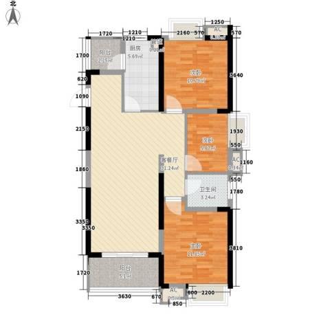 融科城3室1厅1卫1厨112.00㎡户型图