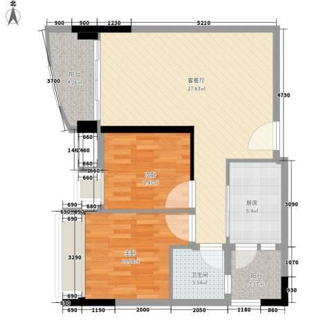 碧桂园椰城2室1厅1卫1厨68.00㎡户型图