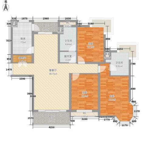 新城碧翠3室1厅2卫1厨160.00㎡户型图