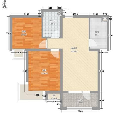 利源花园小区2室1厅1卫1厨87.00㎡户型图