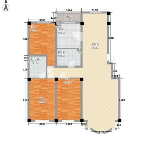 南航世纪苑3室0厅2卫1厨158.00㎡户型图
