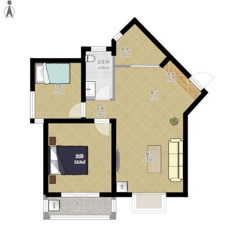 中阳润庭2室1厅1卫1厨81.00㎡户型图