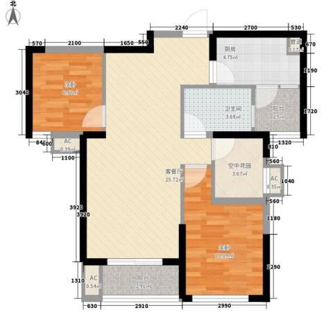 融科九重锦2室1厅1卫1厨89.00㎡户型图