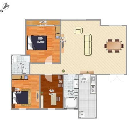 城市枫景3室1厅2卫1厨97.18㎡户型图