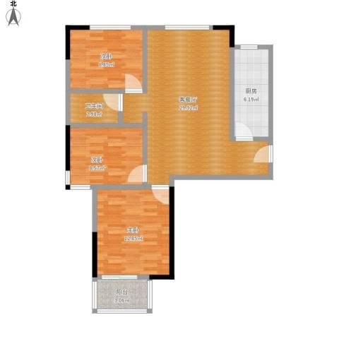 红苹果3室1厅1卫1厨102.00㎡户型图